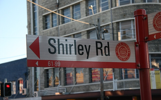 Crows Nest Shirley Rd Street sign