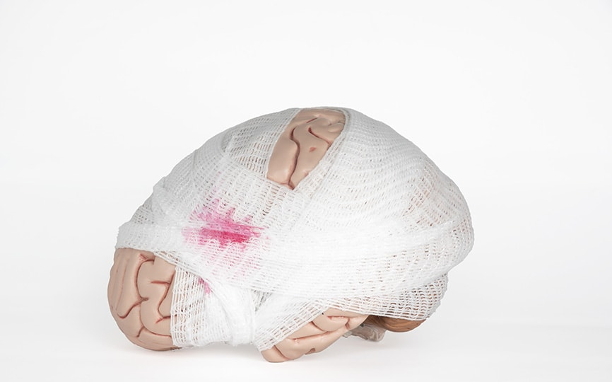 brain wrapped in bandages