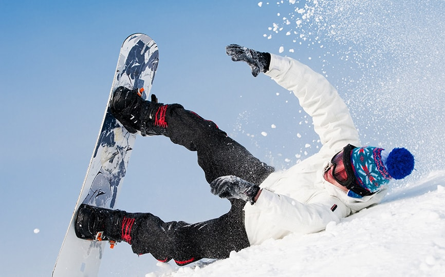 snowboarder falling over